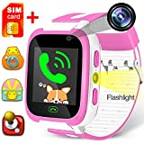 Kids Game Smart Watch Phone SOS Tracker Birthday Holiday Toy Gifts Girls Boys Fitness Tracker Wrist Sport Watch with SIM Camera 1.54'' Alarm Timer for Outdoor Run Summer Camping (Pink)
