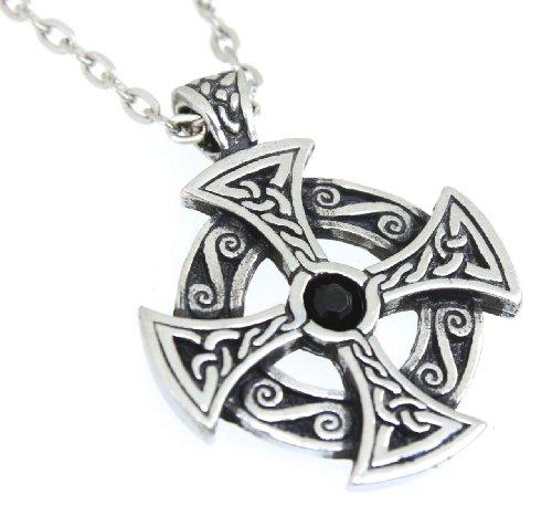 Pewter Solar Cross Celtic Pendant on Chain w/ Jet Black Swarovski Crystal ()