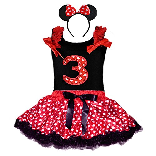Birthday Girl's Polka Dot Tutu Sequin Age Number Tank-Top & Headband 3 Pcs Set (Age 3-RWBK)