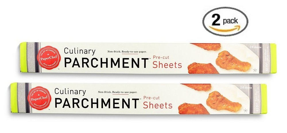 (Pack of 2) Non-stick Parchment Paper Baking Sheet Pan Liner (24 Pre-Cut Sheets Per Box) Paper Chef 05072