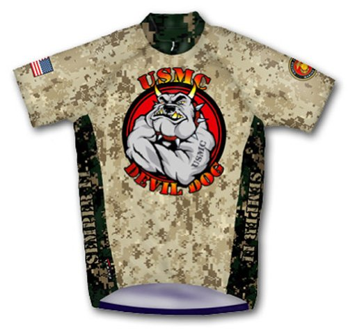 Primal Wear Devil Dog U.S. Marines Cycling Jersey Men's 4XL Short Sleeve USMC USA Military