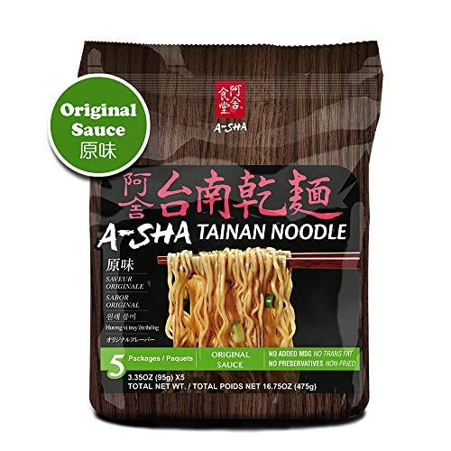 A-SHA Healthy Ramen Noodles - Thin Tainan Style -Original Flavor Sauce Pack Included - 1 Bag (5 Servings)