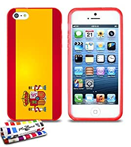 Carcasa Flexible Ultra-Slim APPLE IPHONE 5 de exclusivo motivo [Bandera espagne] [Roja] de MUZZANO  + ESTILETE y PAÑO MUZZANO REGALADOS - La Protección Antigolpes ULTIMA, ELEGANTE Y DURADERA para su APPLE IPHONE 5