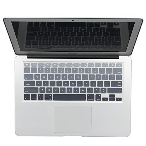 Batianda New Ombre Color Keyboard Cover Protector Silicone Skin for MacBook Air 13 MacBook Pro 13 15 17 (with or w/out Retina Display) - Gradient Grey