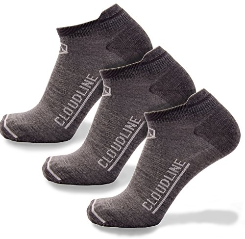 CloudLine Merino Wool Ultra-Light Athletic Tab Ankle Running Socks - 3 Pack - Medium Granite - for Men & Women