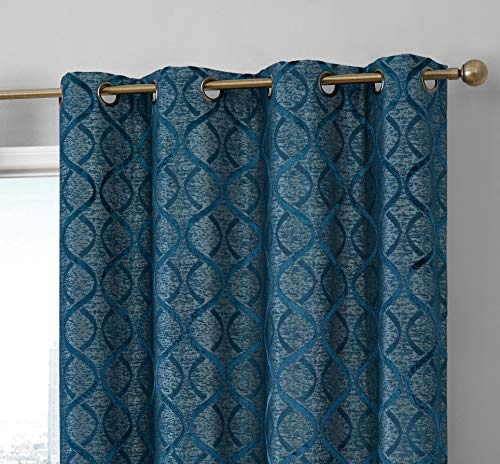 HLC.ME Lattice Flocked 100 Complete Blackout Thermal Insulated Window Curtain Grommet Panels – Energy Savings Soundproof – Great for Living Room Bedroom, Set of 2 50 x 84 inches Long, Teal Blue