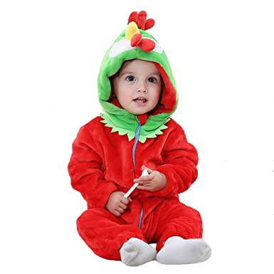 8034cce780f3 Amazon.com  Baby Animal Hooded Romper Flannel Jumpsuit Unisex Infant ...