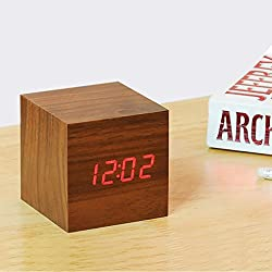 Digital Wooden Alarm Clock,Red LED Dark Wood Anten Clock With Voice/Sound Control,Bamboo Cube