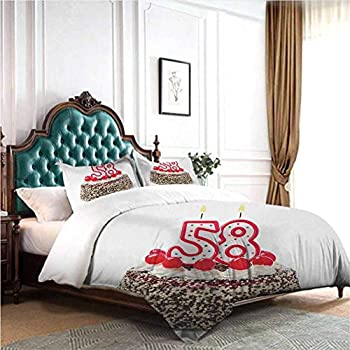 Image of dsdsgog Soft Warm 50th Birthday,Joyful Mood Occasion Surprise Colorful Lettering Stars Balloons and Ribbons,Multicolor 90x104 inch Three-Piece Bed Sheet Set Home and Kitchen