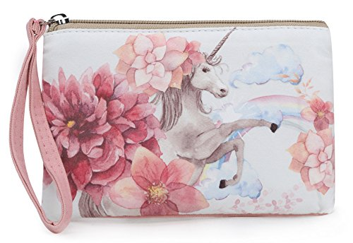 Crest Design Cute Canvas Smartphone Wristlets Cash Coin Purses, Make Up Bag, Cellphone Clutch Purse With Wrist Strap (Pink Unicorn)