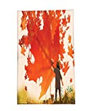 Interestlee Fleece Throw Blanket Fantasy Art House Decor Kid Painting Canadian Maple Leaves to Wall Graffiti Fall Image Orange Brown