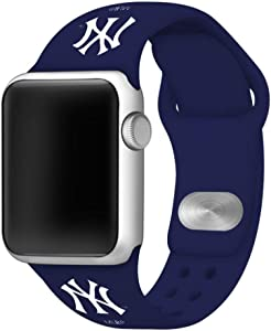 New York Yankees Silicone Sport Watch Band Compatible with Apple Watch (42mm/44mm - Navy)