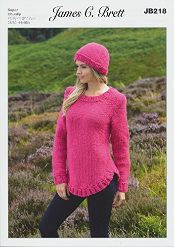 James Brett Amazon Super Chunky Knitting Pattern Ladies Sweater & Hat With Ribbed Detail