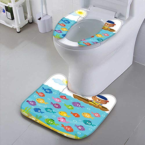 Jiahonghome Bathroom Household Rug worksheet for Kindergarten Kids to Learn Count Number with Bear Convenient -