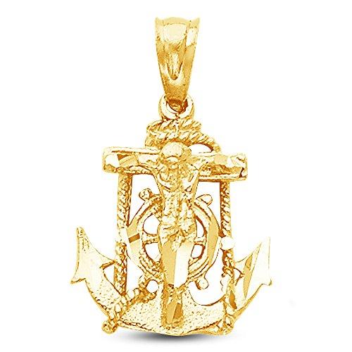 Sonia Jewels 14K Yellow Gold Ornate Religious Mariner Anchor Catholic Crucifix Cross Pendant Charm (15x14 mm)