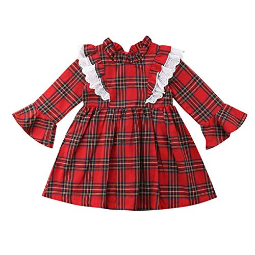 Wiswell Newborn Baby Sister Christmas Matching Clothes Ruffled Long Sleeve Red Plaid Dress Romper Outfits (Red1, 100/1-2Years)