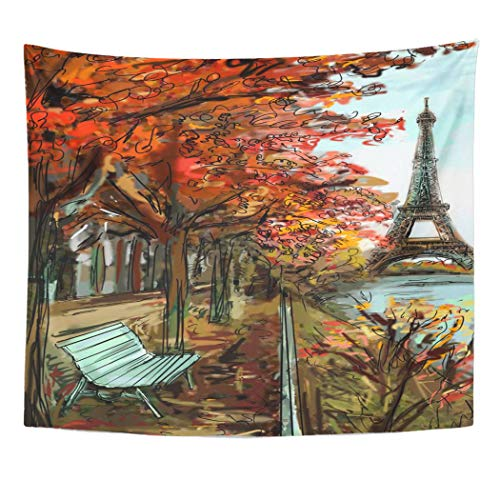 Cosmopolitan Maps Wall (Emvency Wall Tapestry Architecture Street in Autumn Paris Eiffel Tower Sketch Downtown Black Built City Cityscape Construction Cosmopolitan Decor Wall Hanging Picnic Bedsheet Blanket 60x50 Inches)