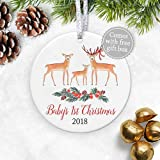"Baby's 1st Christmas Ornament 2018, Baby Shower Gift for Newborn First Christmas, Watercolor Baby Deer Fawn Keepsake for Mom & Dad - 3"" Flat Porcelain Ornament - Gold & Silver Ribbon + Free Gift Box"