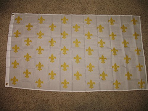 (3X5 White New Orleans French 50 Fleur De Lis Over Texas Flag 3'X5' House Banner )