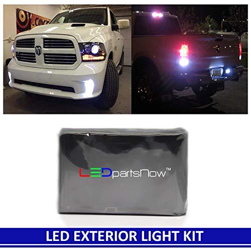 2013-2016 Dodge RAM 1500, 2500, 3500 HD Heavy Duty White LED Exterior Light Kit (Fog, Reverse/Backup, Cargo, License plate Light Bulbs)