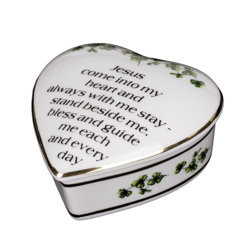 Porcelain Irish Shamrock Jewelry Keepsake Box (First Communion Box)