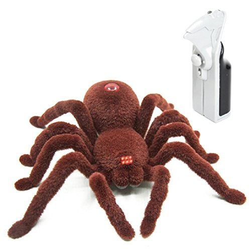 Latburg Remote Control Spider Fright Props Prank Fake Spider Robot Games for Joke Novelty Spoof Electric Changeable Toy for Halloween Gift Decoration Party Stage Props (2CH)