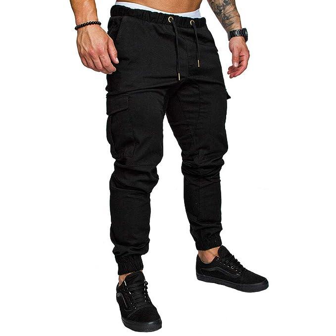 no sale tax huge inventory clear-cut texture LINGMIN Men's Athletics Pocket Chino Cargo Pant Elastic Waist Trousers  Jogger Pants