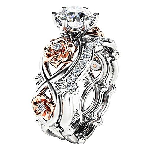 Men Rings Stainless Steel,New Women Fashion Two Tone White Sapphire Wedding Engagement Floral Ring Set,Rose Gold,10