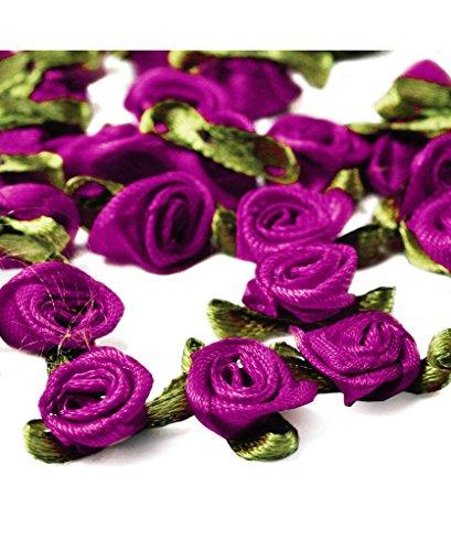 Ajetex 100pcs Satin Ribbon Rose Flower 12mm Wedding Appliques Raspberry Rose