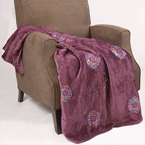 BOON Sequin Embroidered Throw Couch Cover Sofa Blanket, 50