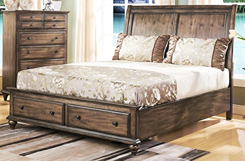 Fortuna 4 Piece Rustic Eastern King Bedroom Set in Weathered Brown Finish - bedroomdesign.us