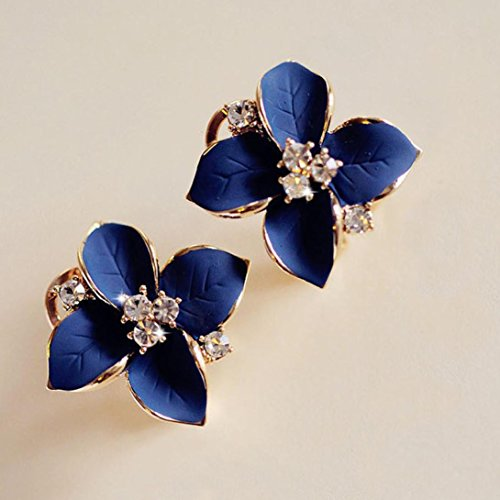 Price comparison product image HIRIRI Hot Sale 1Pair Women Girls Beautiful Camellia Flower Design Ear Stud Earrings Wedding Party Jewelry (Blue)