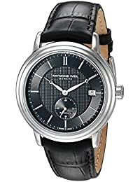 Men's Swiss Automatic Stainless Steel and Leather Dress Watch, Color:Black (Model: 2838-STC-20001)
