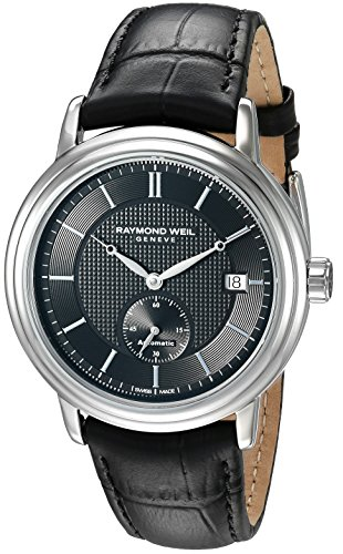 Raymond Weil Men's Swiss Automatic Stainless Steel and Leather Dress Watch, Color:Black (Model: 2838-STC-20001)
