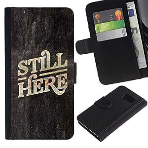 iBinBang / Flip Funda de Cuero Case Cover - Aquí Ahora Cita Slogan Pizarra - Samsung Galaxy S6 SM-G920