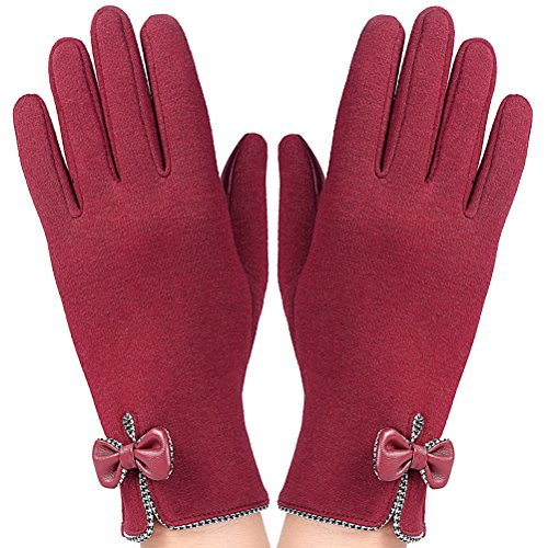 Nanxson(TM) Women Elegant Flexible Warm Full Fingers Winter Driving Gloves with Bowties ST0038 dark red