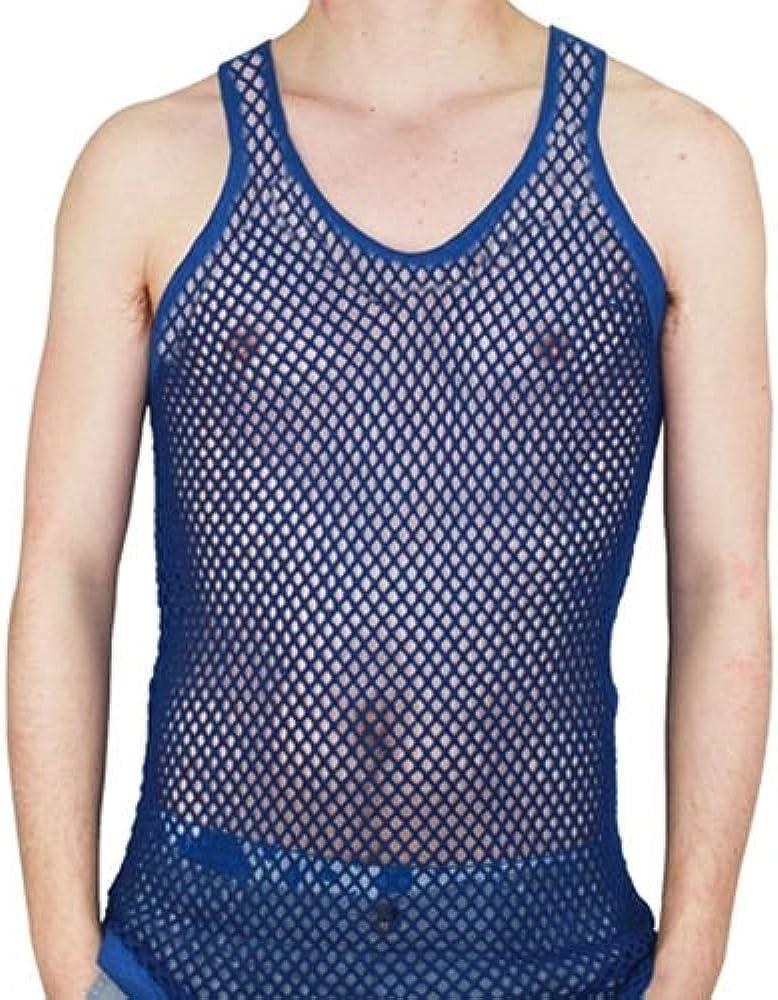 Camiseta sin mangas, Para hombre, de malla, ajustada, 100% algodón, para entrenamiento, gimnasio azul azul real M: Amazon.es: Ropa y accesorios