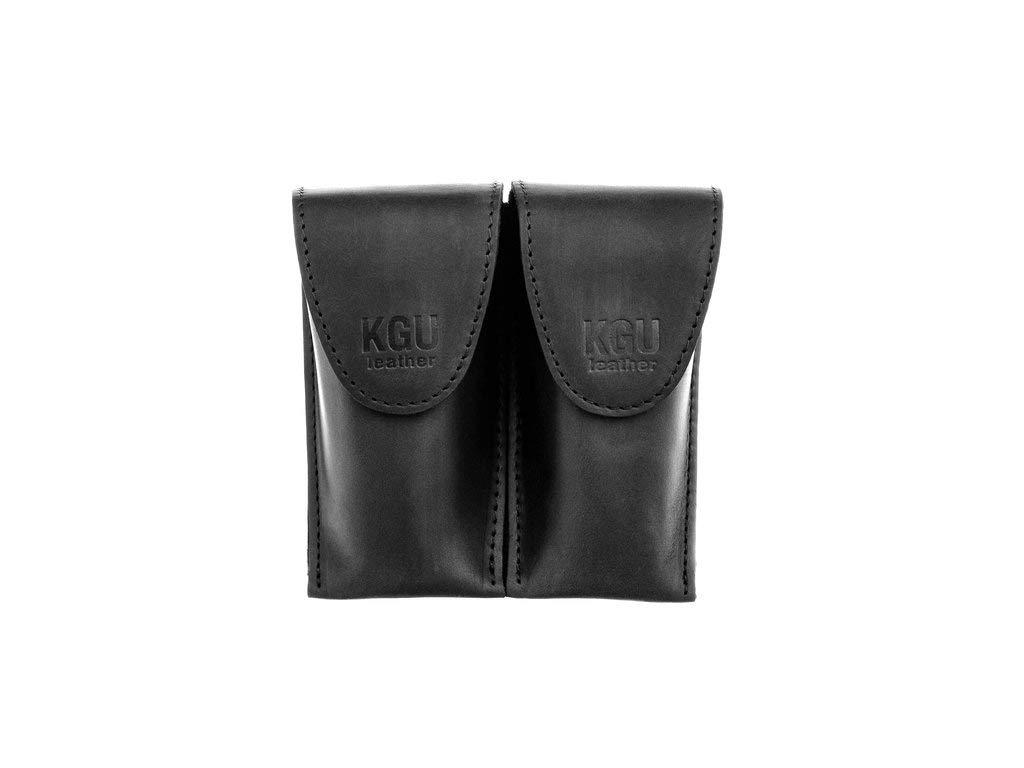Trombone/Euphonium Mouthpiece Pouch. KGUBrass.''Crazy Horse'' Leather. (Double, Black) by KGUBrass