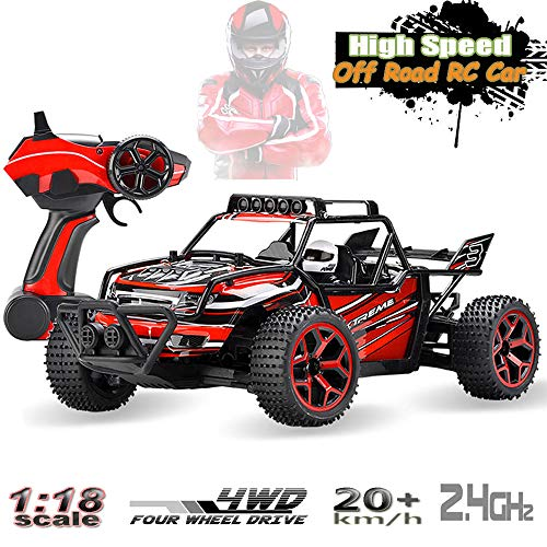 - SZJJX RC Cars Off-Road Rock Vehicle Crawler Truck 2.4Ghz 4WD High Speed 1:18 Remote Radio Control Racing Cars Electric Fast Race Buggy Hobby Car Red