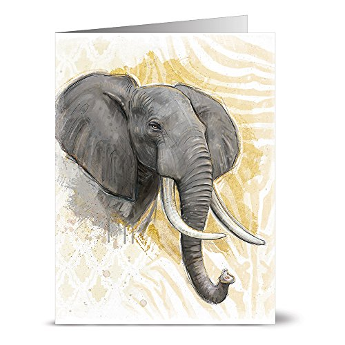 24 Note Cards - Elephant on Gold Print - Blank Cards - Gray Envelopes Included