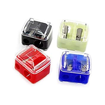 4 x METAL PENCIL SHARPENERS DOUBLE HOLE PENCIL EYELINER 12mm//8mm