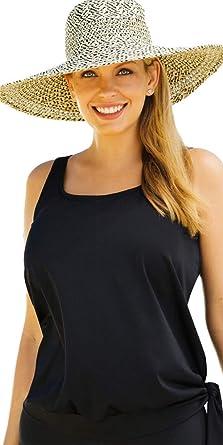 a6342d53730 Swimsuits For All Women s Plus Size Side Tie Blouson Tankini Top 10 Black