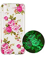 Miagon Luminous Effect Back Case Cover for iPhone XS Max,Noctilucent Glow in the Dark Green Soft Slim TPU Gel Flexible Bumper,Rose Flower