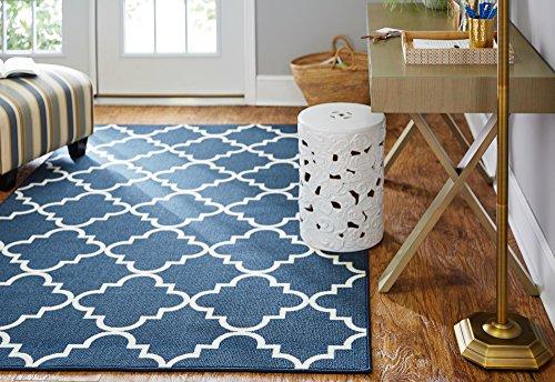 Cheap Mohawk Home Soho Fancy Trellis Geometric Lattice Printed Area Rug, 5'x7′, Navy Blue