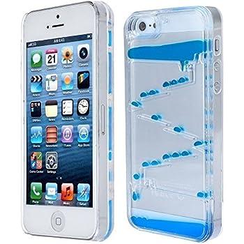 Appbox Flowing Liquid Swimming Magic Maze Transparent Hard 3d Liquid Case Cover Shell for Iphone 5 5s (Blue)