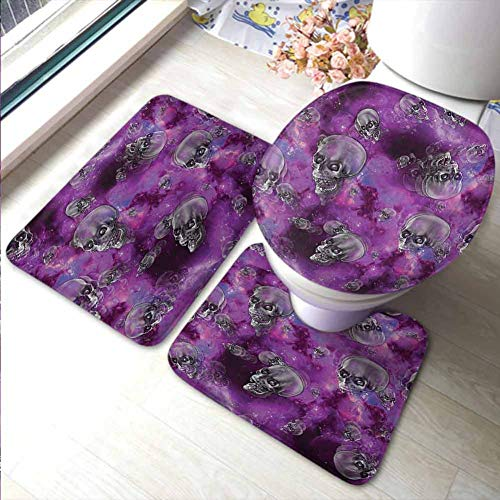 Ikea Halloween Movie (Bathroom Rugs Sets 3 Piece Skull,Horror Movie Thirller Themed Flying Skull Heads Halloween in Outer Space Image,Black and Purple,Bathroom)