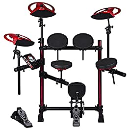 Ddrum DD Beta XP2 Complete Electronic Drum Set, Includes Low Profile Rack System with Red Aluminum Rack Up Rights…