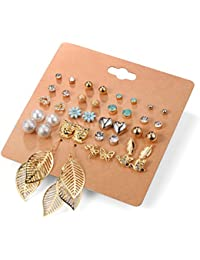 Aganippe 20 Pairs Girl's Stainless Steel Earrings Cute Assorted Multiple Animal Stud Earring Sets,Hypoallergenic...
