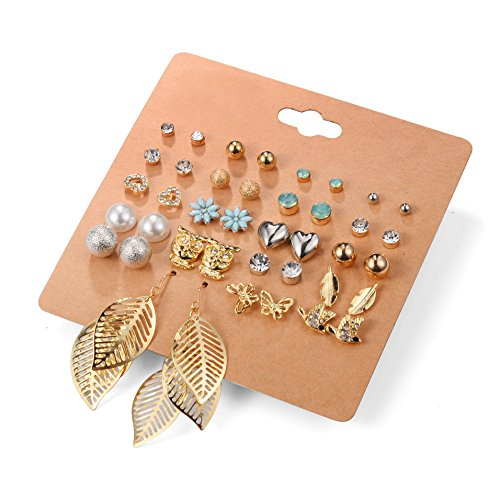 Unique Queen Women's Girl's Stainless Steel Assorted Multiple Stud Earring 20 Style Sets Girl's Christmas Gift,Hypoallergenic (Style-1)