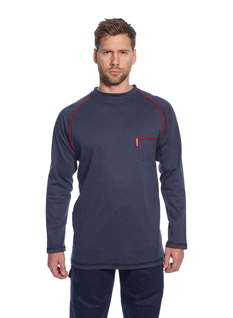 Portwest FR01GRRXXXL BizFlame Flame Resistant Crew Neck Shirt Grey Regular Size: 3X-Large